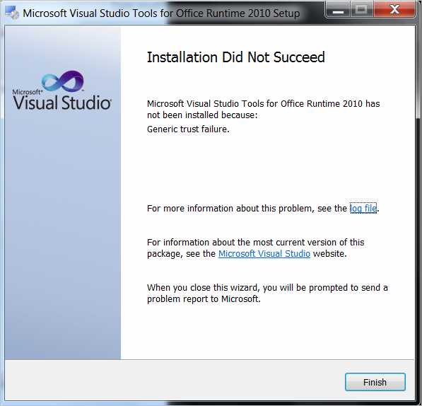 Generic trust failure when installing Visual Studio Tools for Office