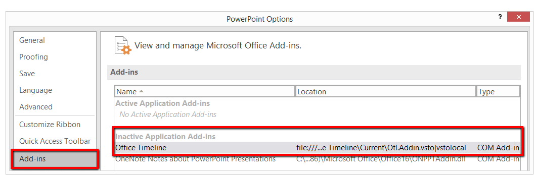 the office timeline add in does not load automatically office
